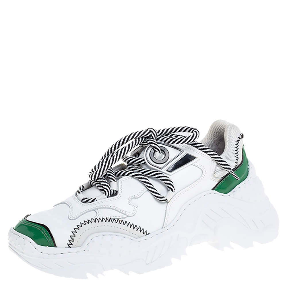 N°21 White/Green Leather and Mesh Billy Sneakers Size 36