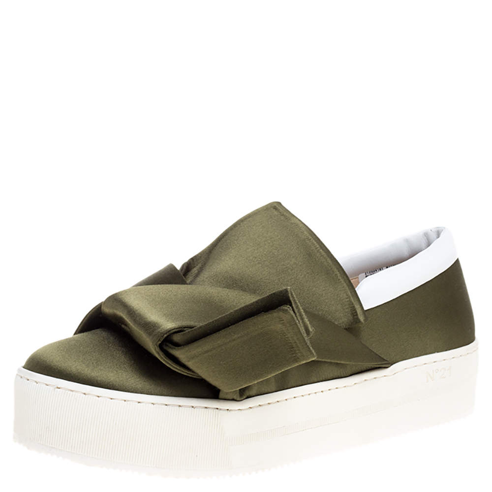 N21 Green Satin Knotted Slip on Sneakers Size 38