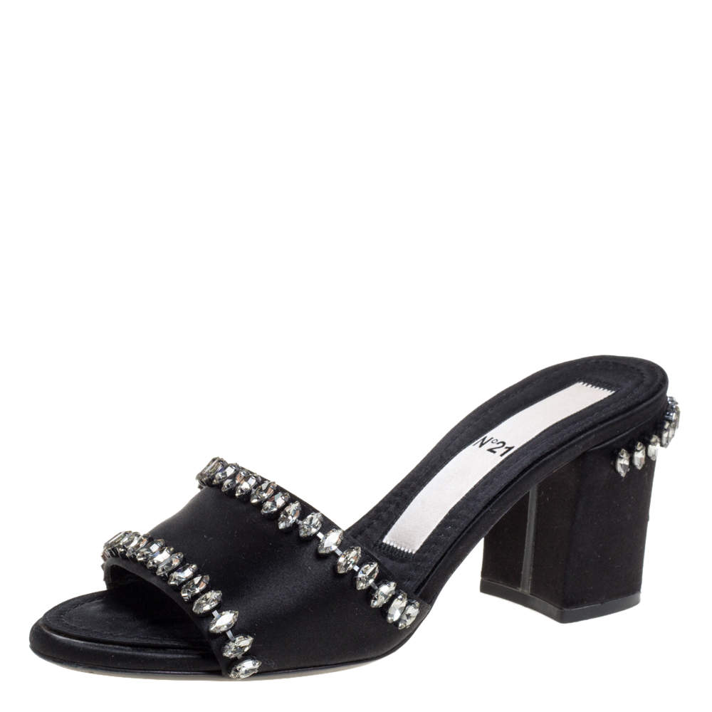 Nº21 Black Satin Crystal Embellished Slide Sandals Size 37
