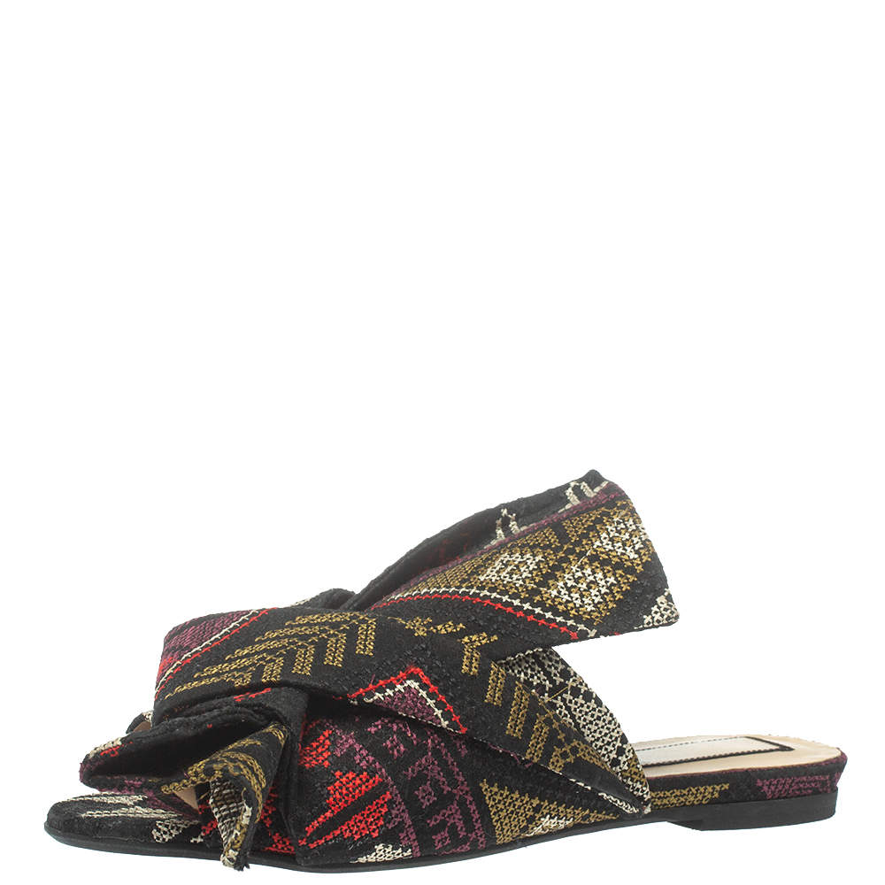 N21 Multicolor Embroidered Fabric Knot Flat Slides Size 36.5