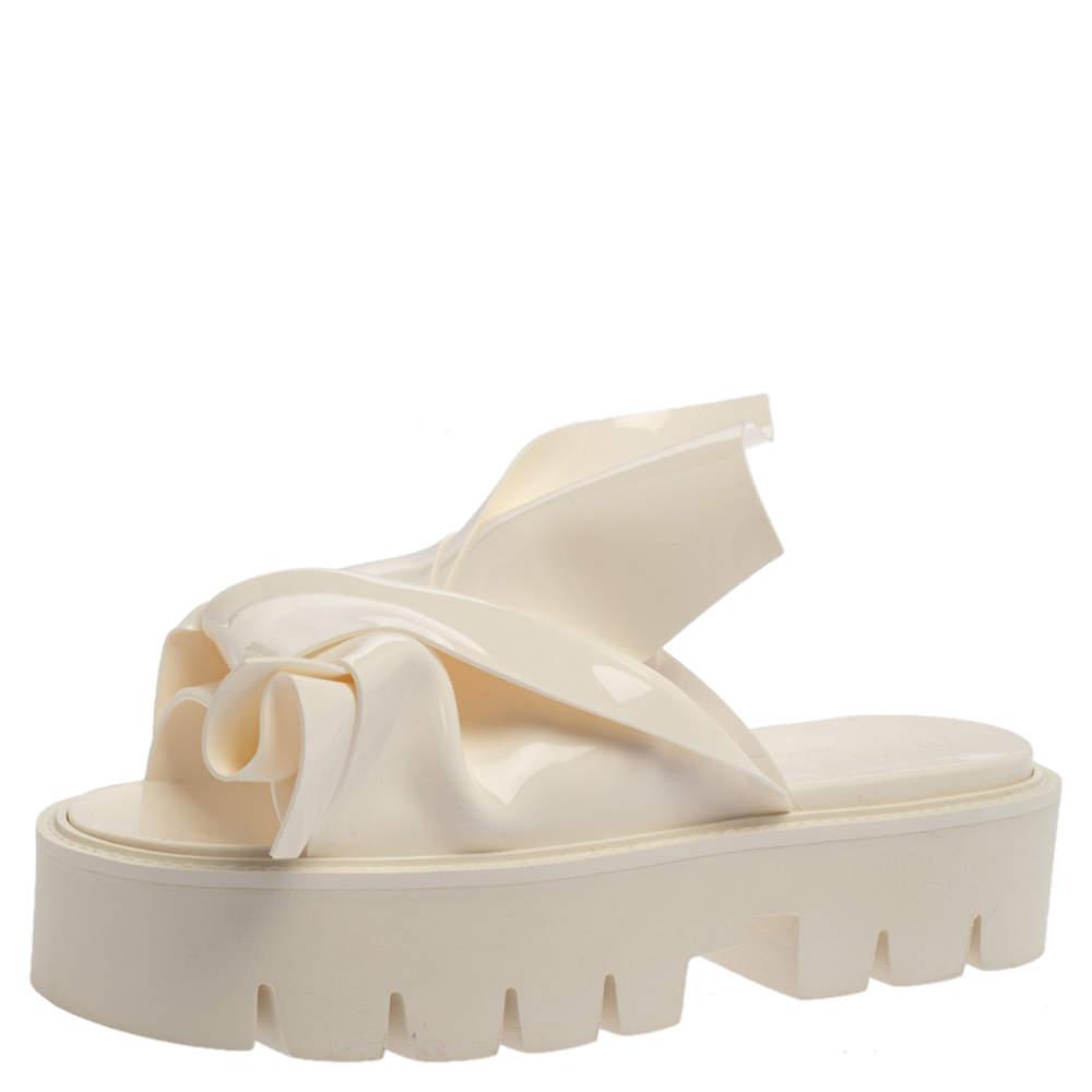 N21 X Kartell White PVC Knot Platform Slides Size 39