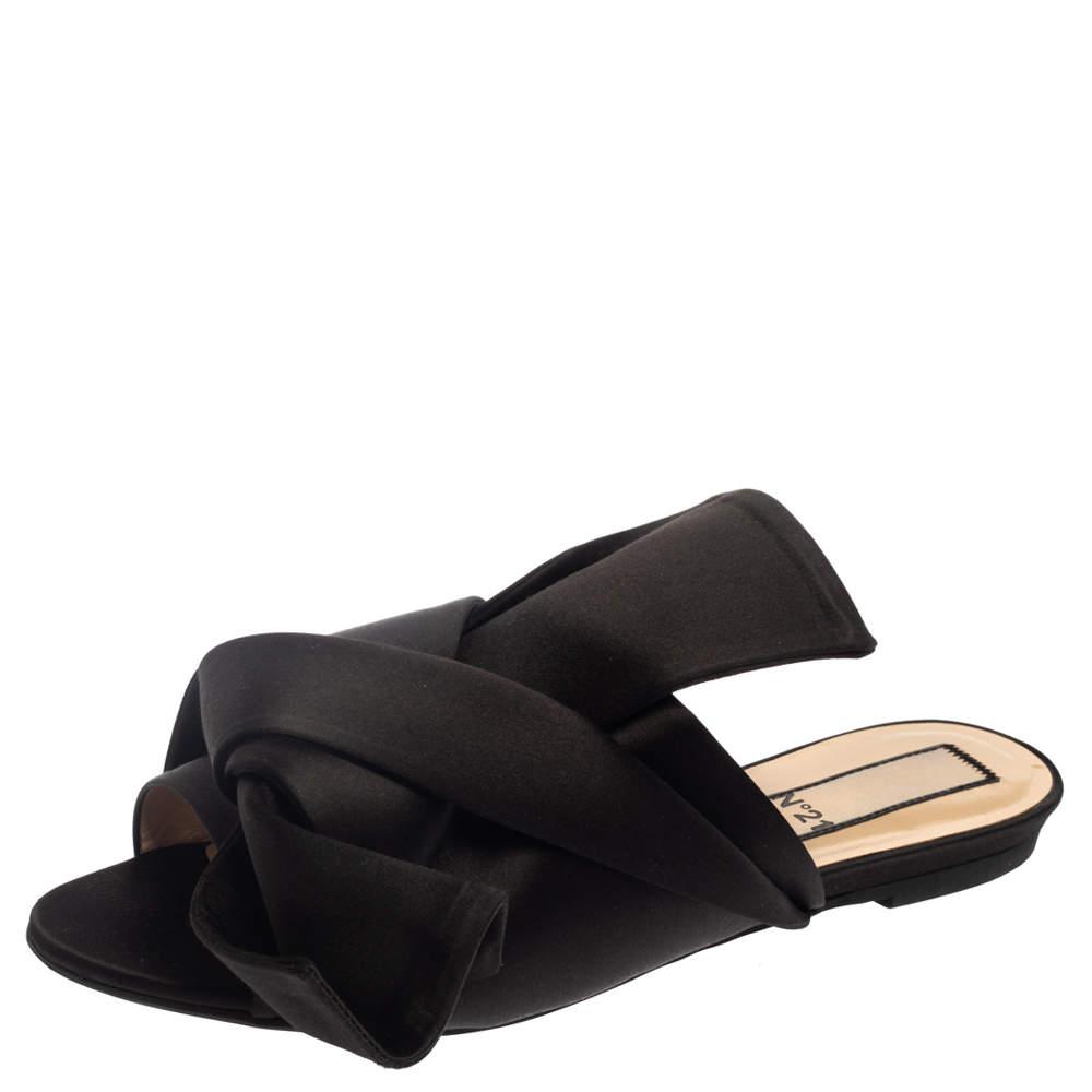 N21 Black Satin Knot Flat Mules Size 39