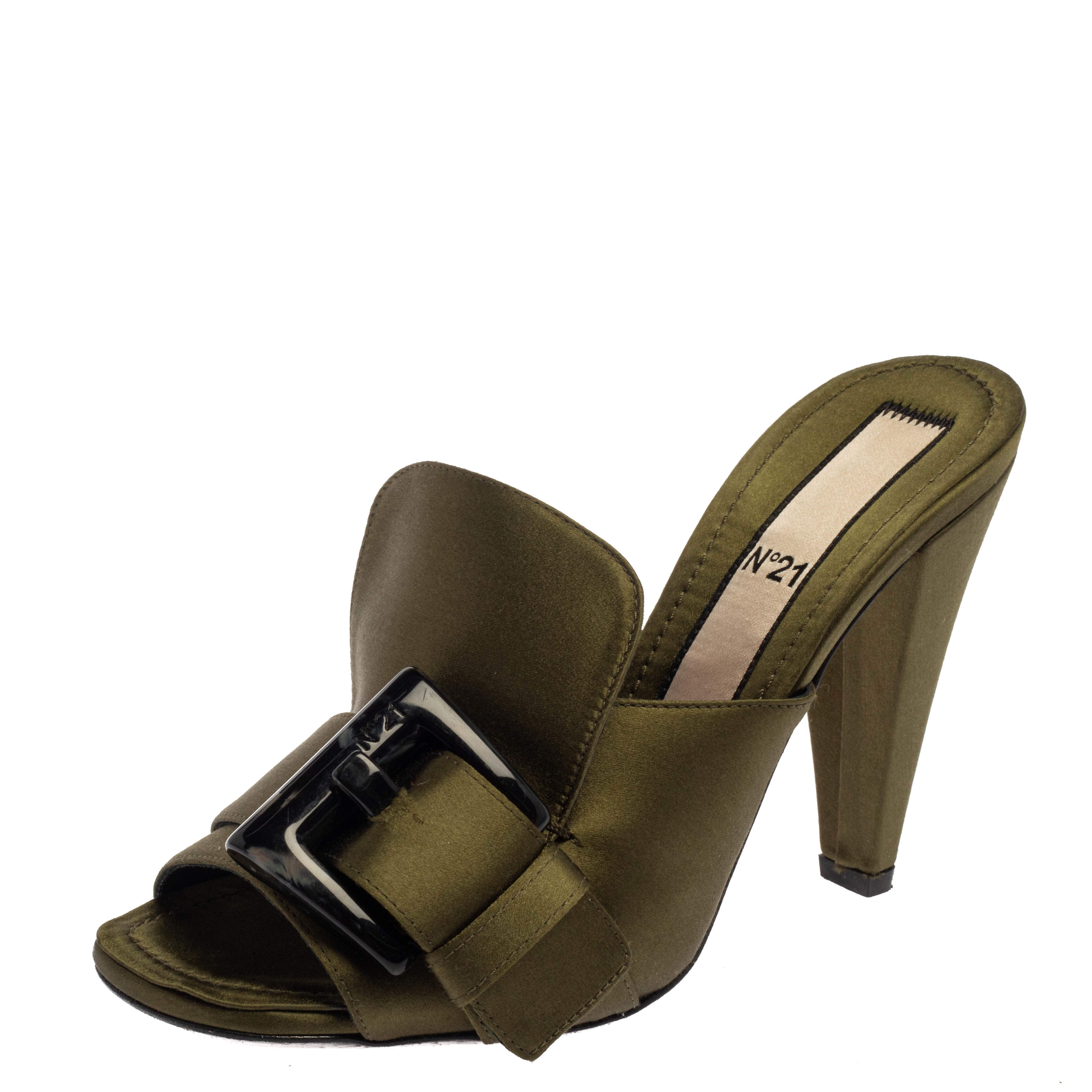 N21 Green Satin  Slip On Mule Sandals Size 37.5