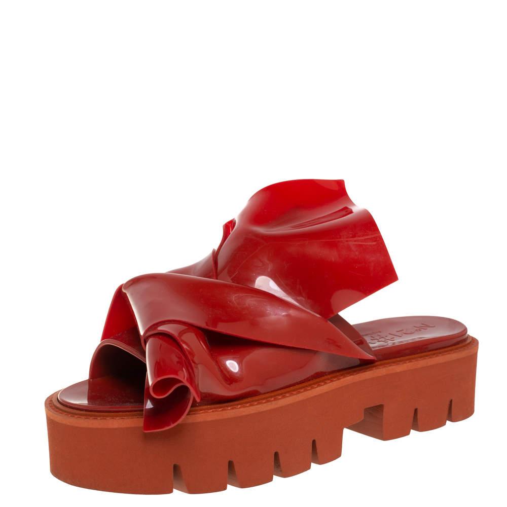 N21 X Kartell Red Rubber Knot Platform Slides Sandals Size 40