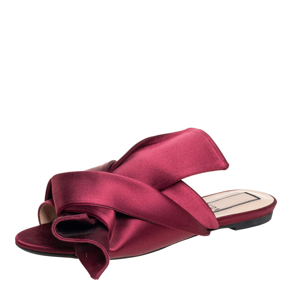 Nº21 Burgundy Satin Raso Knot Flat Slides Size 39