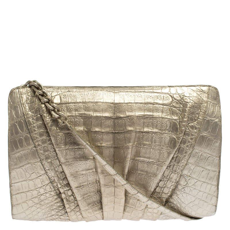 Nancy Gonzalez Gold Croc Embossed Leather Chain Clutch