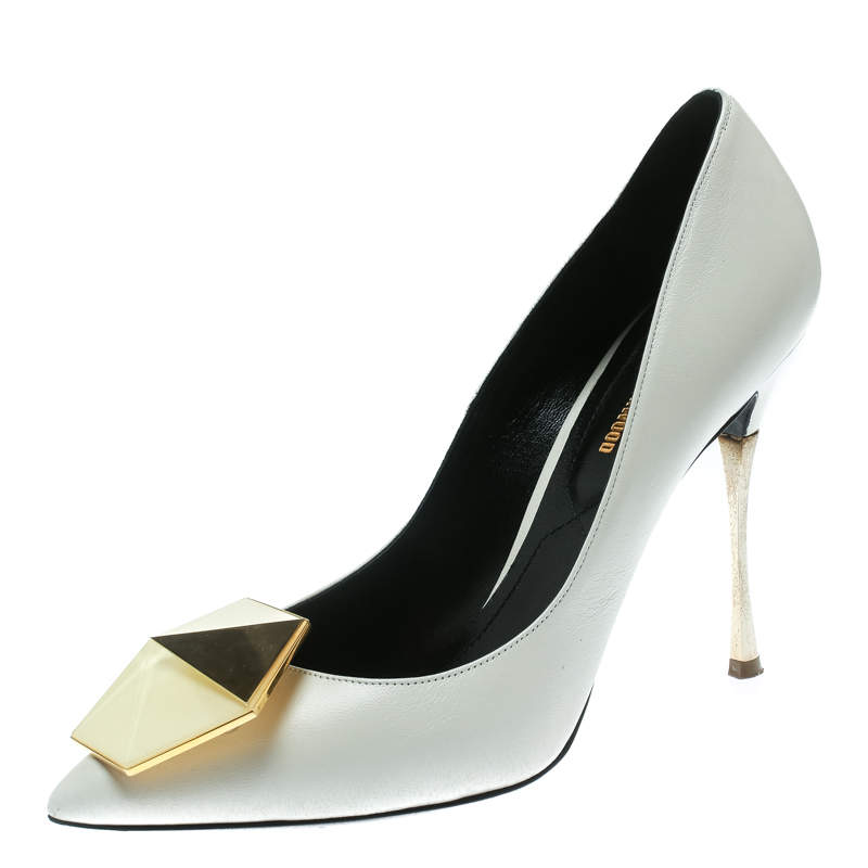 Nicholas Kirkwood White Leather Hexagon Pointed Toe Pumps Size 37.5