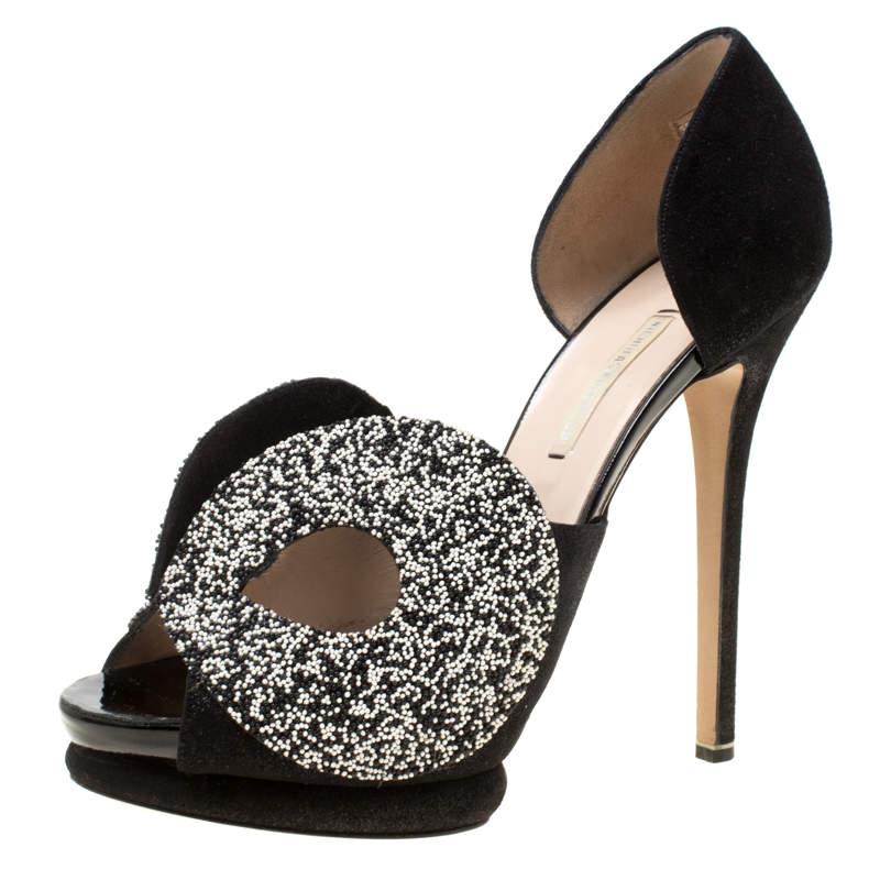 Nicholas Kirkwood Monochrome Suede Cut Out Platform Peep Toe Sandals Size 38.5