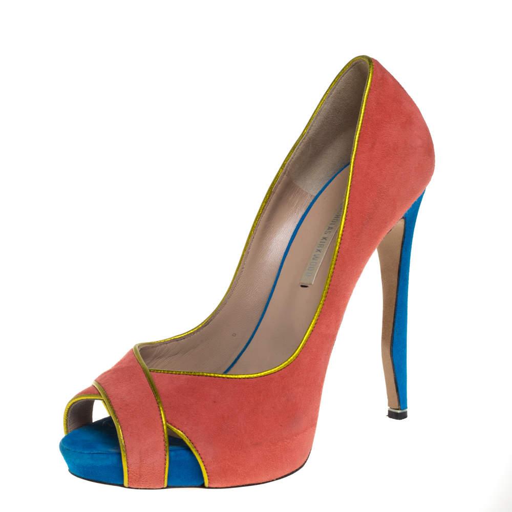 حذاء كعب عالي نيكولاس كيركوود مقدمة مفتوحة سويدي متعدد الألوان مقاس 38.5