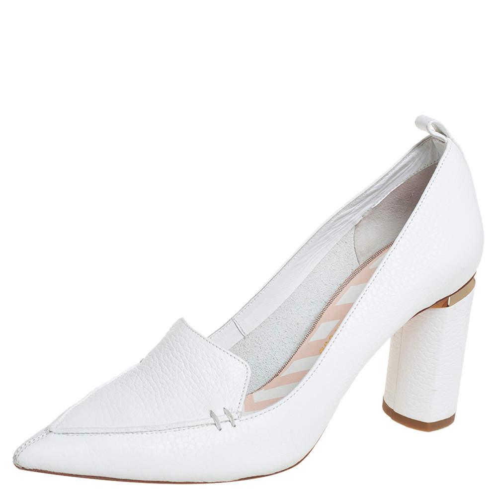 حذاء كعب عالي نيكولاس كيركوود بيا جلد أبيض مقاس 37.5