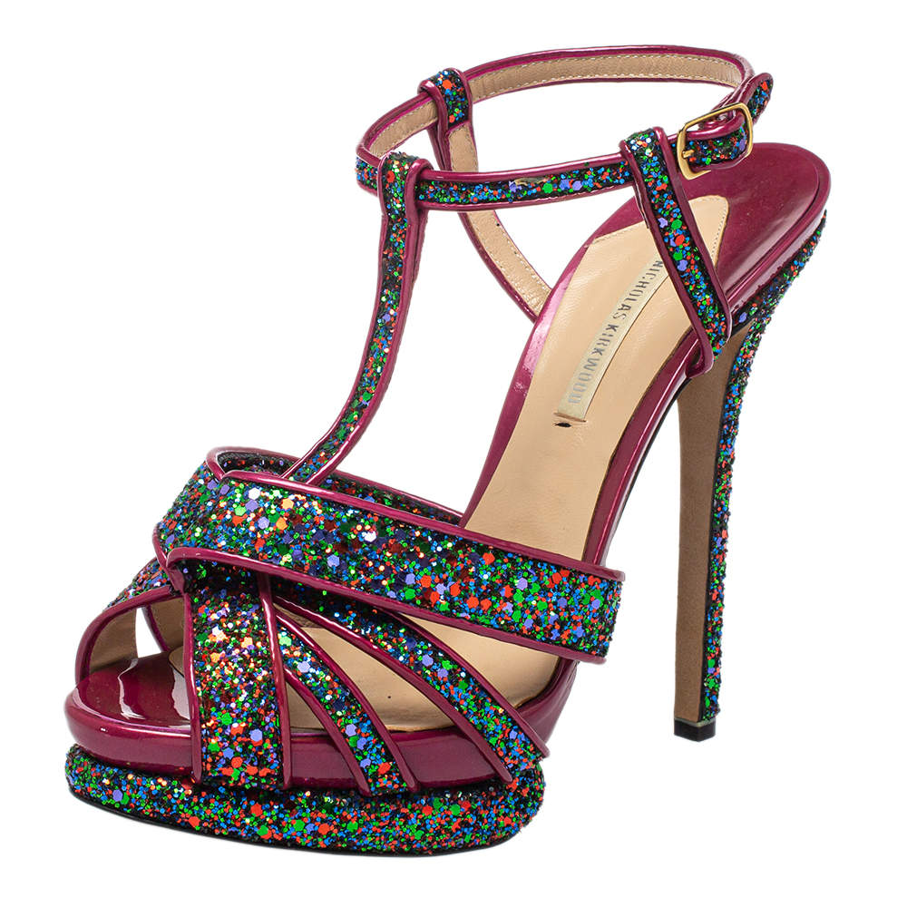 Nicholas Kirkwood Pink Patent Leather and Glitter T Strap Platform Sandals Size 39
