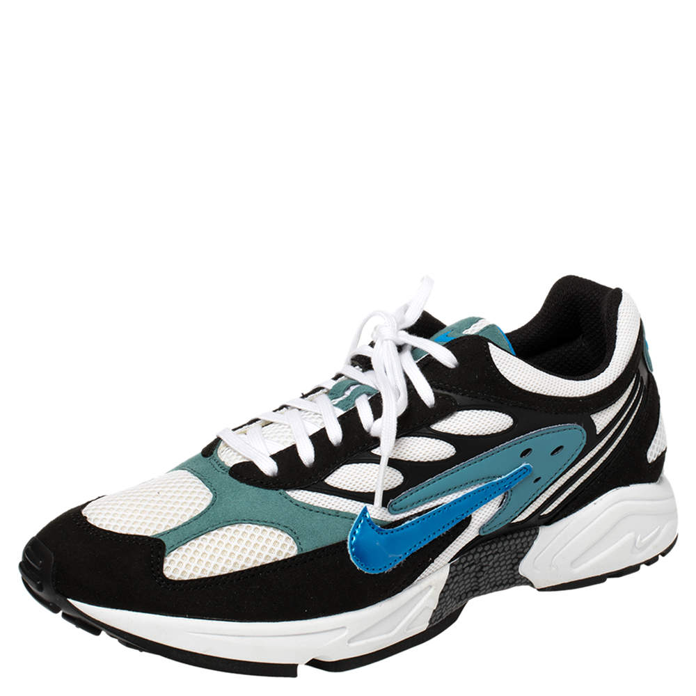 Nike White/Black/Teal Blue Leather And Mesh Air Ghost Racer Size 44.5