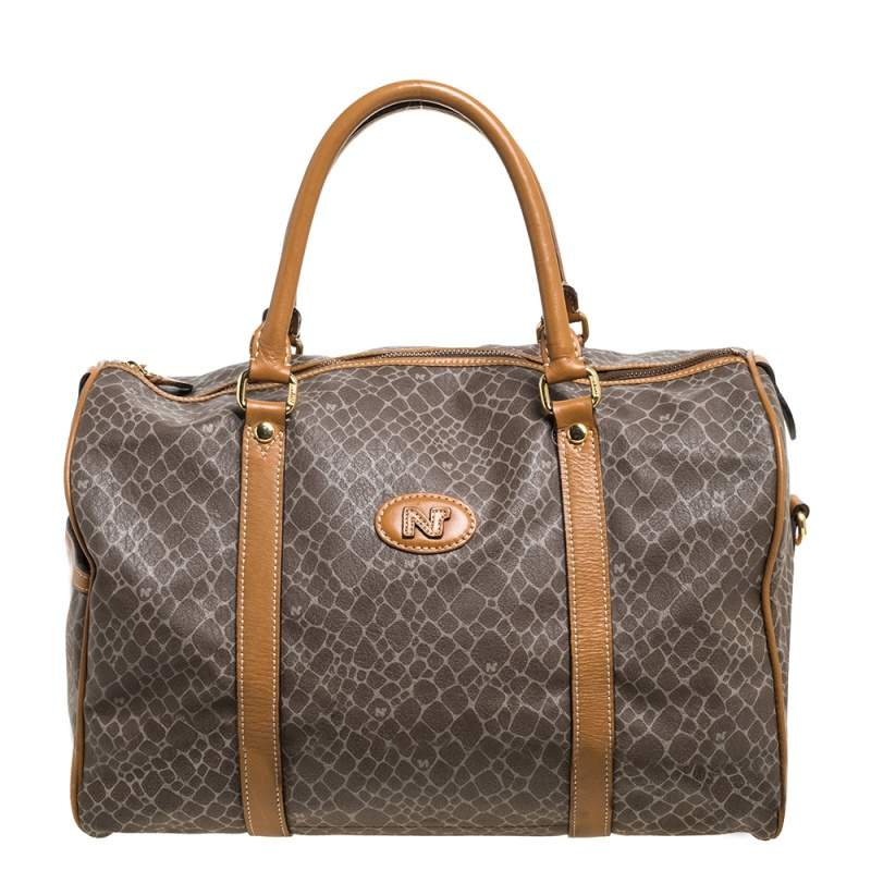 Nina Ricci Brown/Taupe Printed Coated Canvas and Leather Duffel Bag