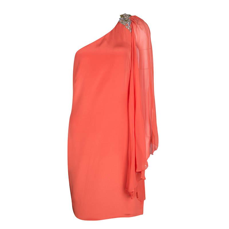 Notte By Marchesa Orange Silk Embellished Draped Sleeve Detail One Shoulder Dress M