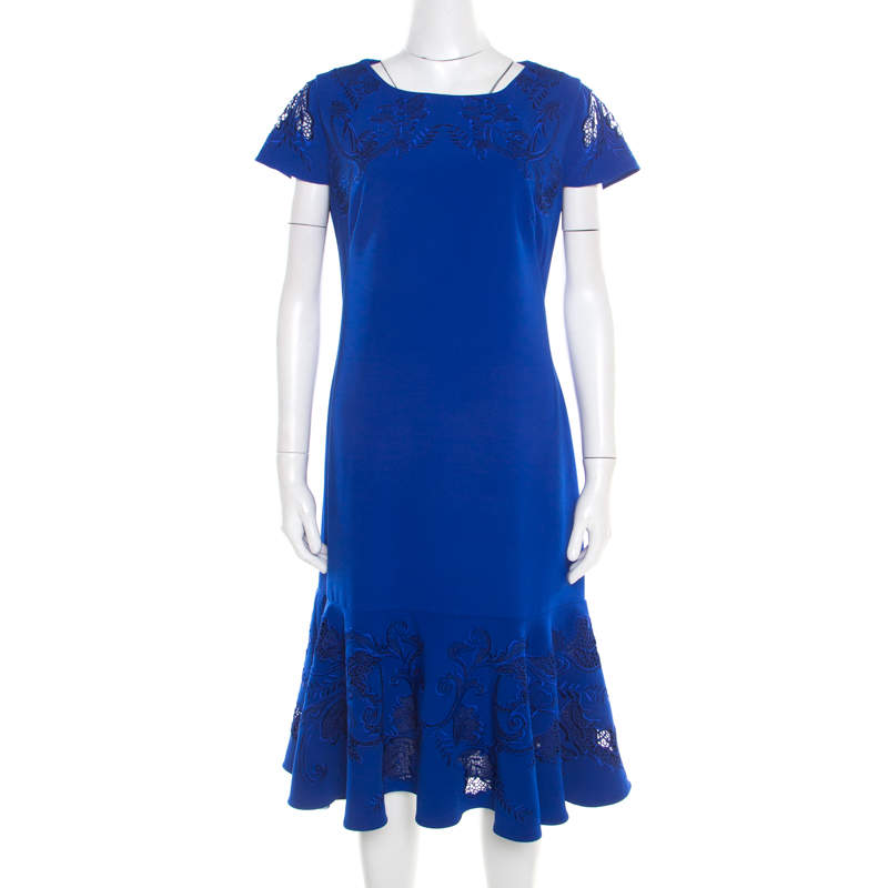 Notte By Marchesa Blue Cutout Floral Embroidered Cap Sleeve Flounce Dress XL