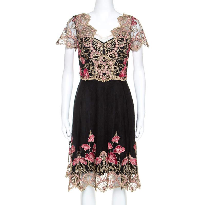 Notte By Marchesa Black and Gold Floral Lace Applique Dress M