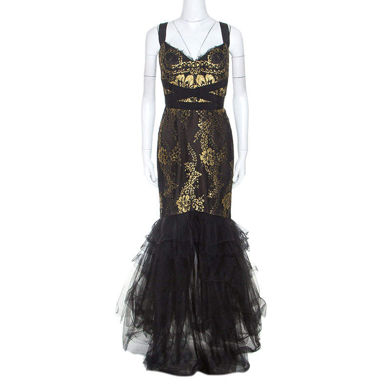 Notte By Marchesa Black and Gold Lace and Tulle Gown M