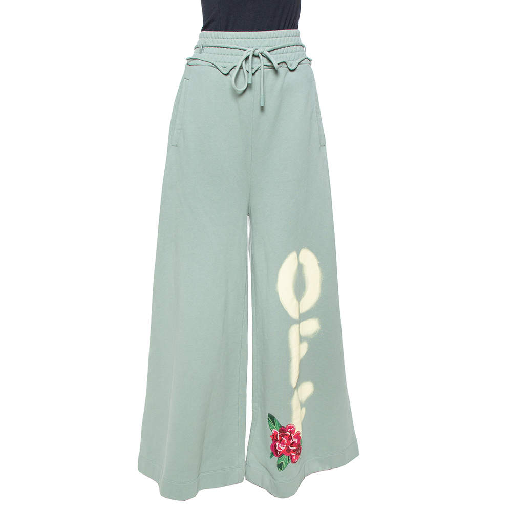Off-White Sage Green Off Print Cotton Wide Leg Sweatpants L