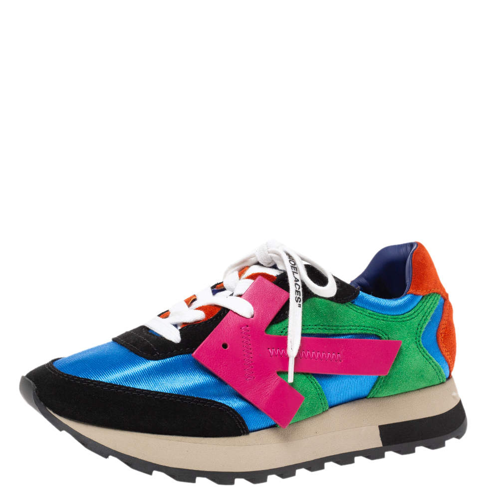 Off-White Multicolor Fabric And Suede Leather Arrow Running Low Top Sneakers Size 38