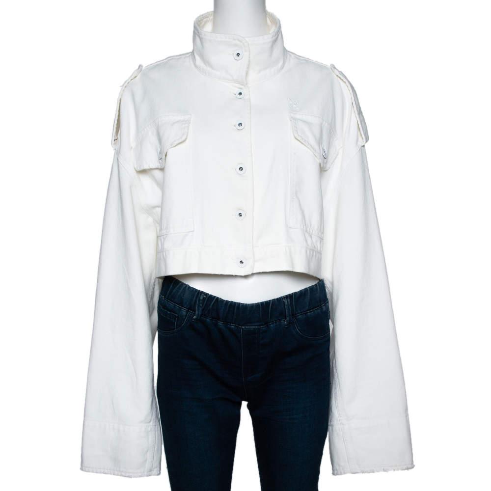 Off-White Cream Denim Cropped Jacket M