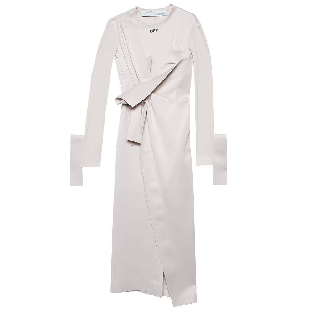 Off-White Beige Neoprene Asymmetric Draped Detail Midi Dress M