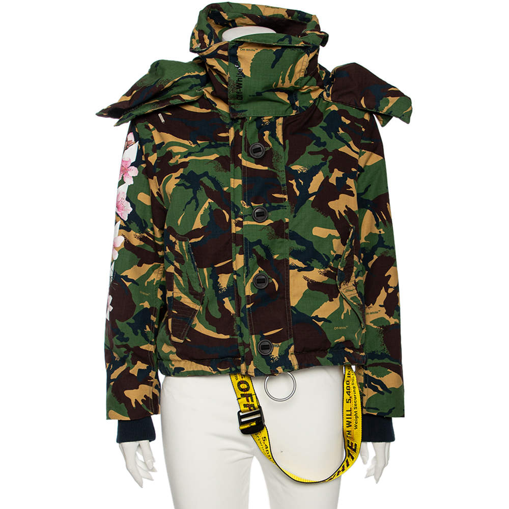 Off-White Camouflage Cotton All Over Mmrrone Diag Parka Jacket M