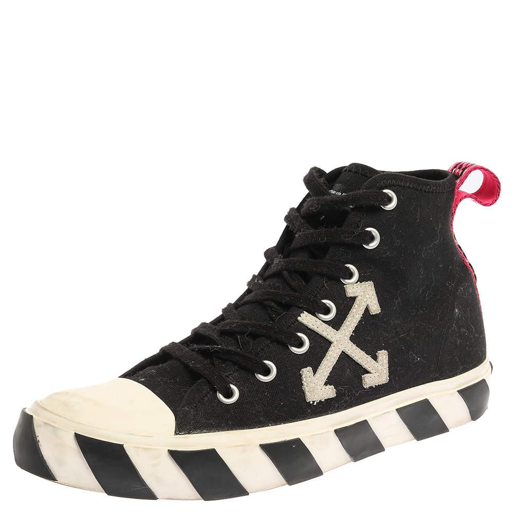 حذاء رياضي أوف وايت أرو مرتفع من أعلي كانفاس أبيض/ أسود مقاس 43
