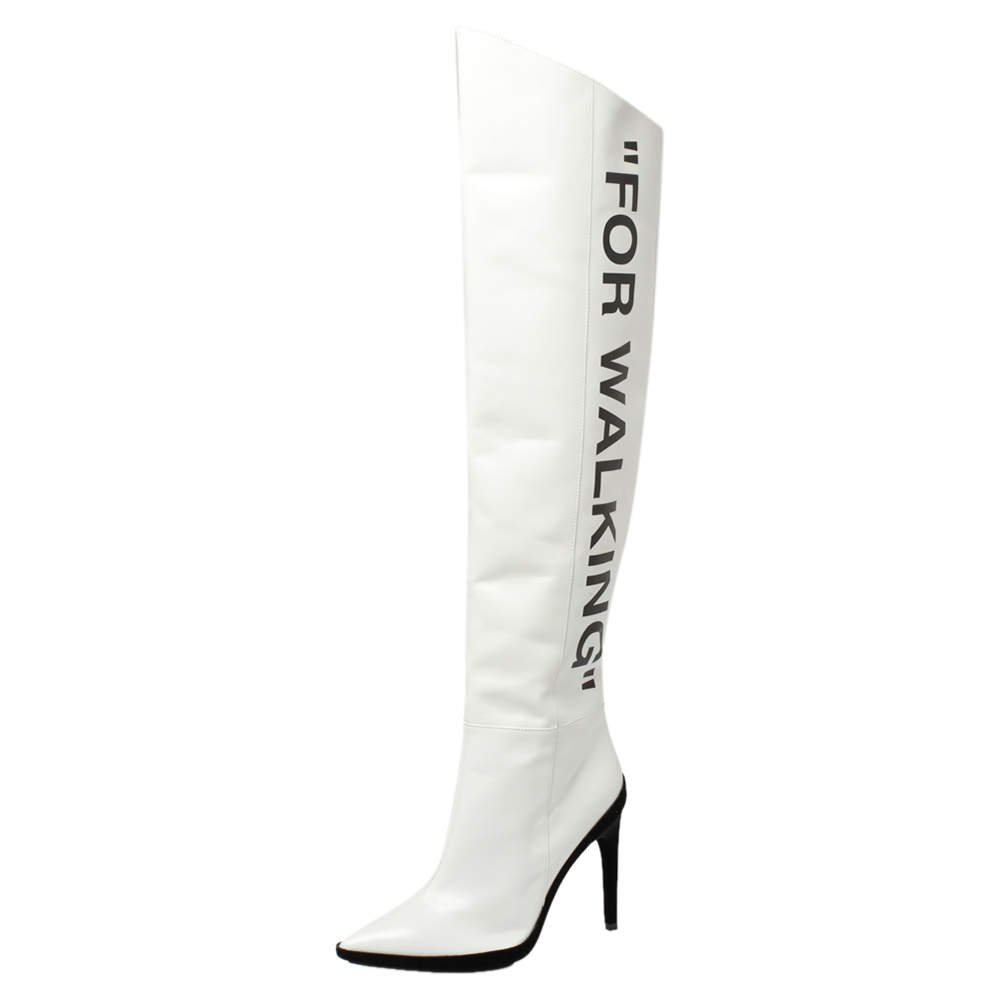 Off-White White Leather For Walking Thigh High Boots Size 37