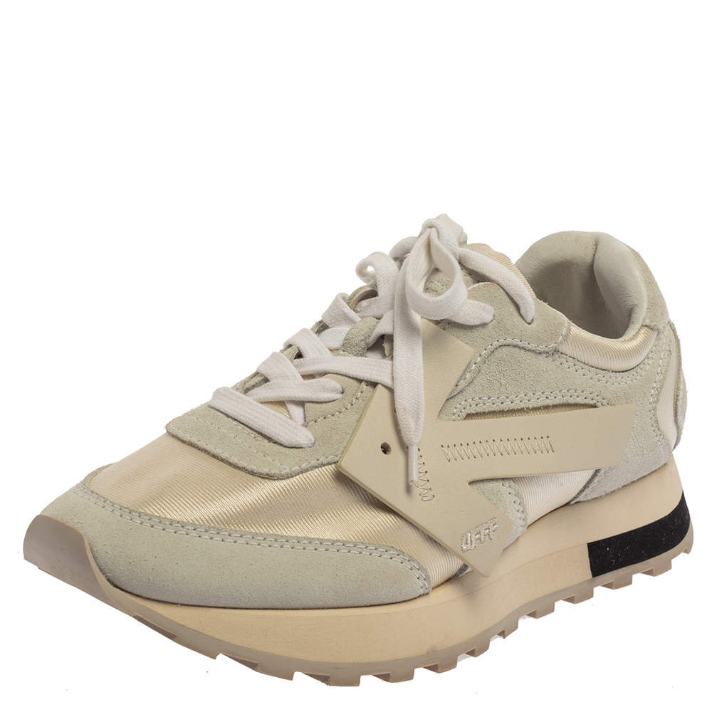 Off-White Grey/White Fabric And Suede Arrow Running Low Top Sneakers Size 38