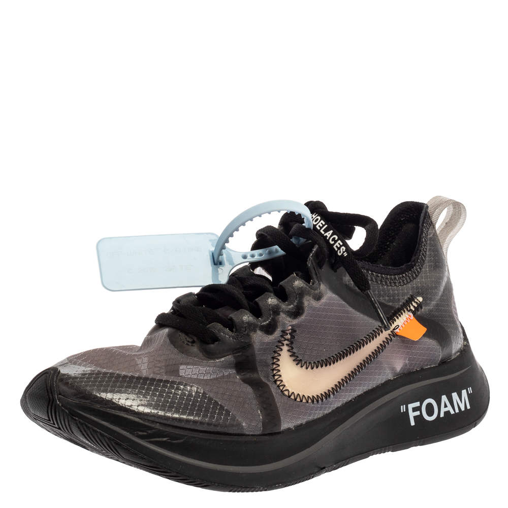 Nike x Off-White Black/Silver Mesh And Polyurethane Zoom Fly Sneakers Size 36.5