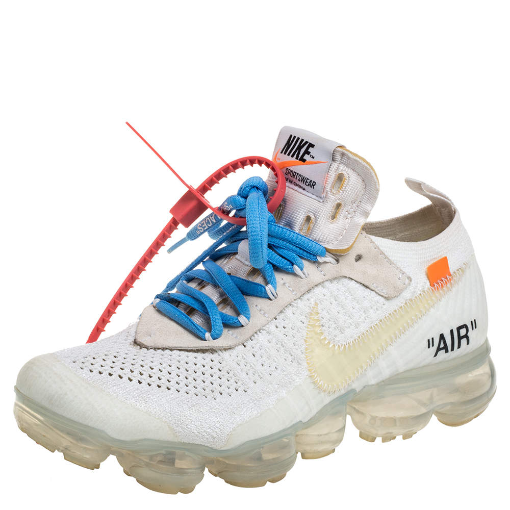 Nike White Knit Fabric And Suede Air Vapormax Off-White Sneakers Size 37.5