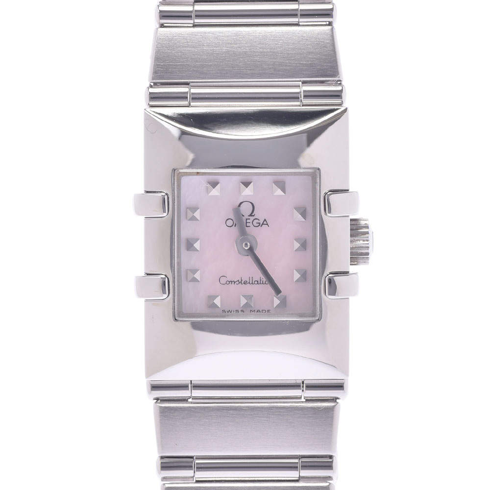 Omega Pink MOP Stainless Steel Constellation Quadro 1531.73 Women's Wristwatch 15 x 20 MM