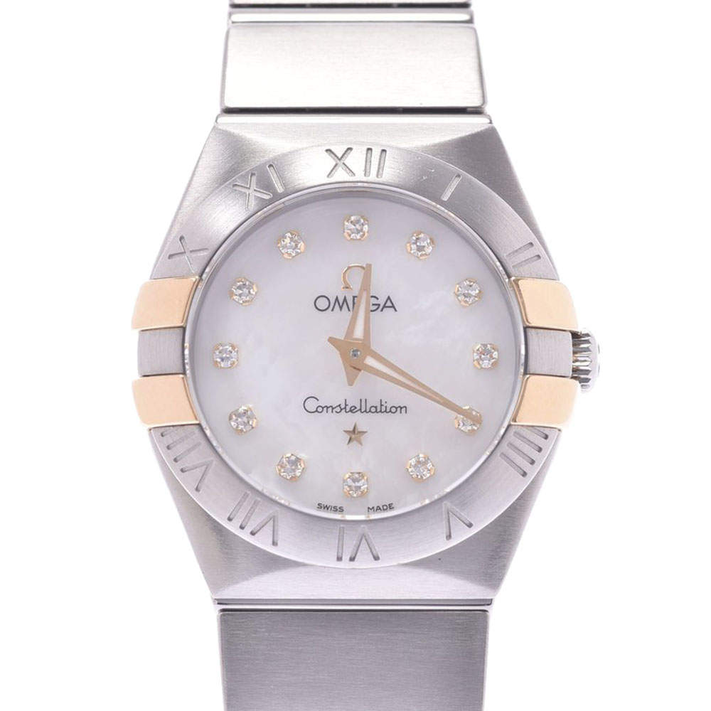 Omega MOP Diamonds 18k Yellow Gold And Stainless Steel Constellation 123.20.24.60.55.006 Women's Wristwatch 24 MM