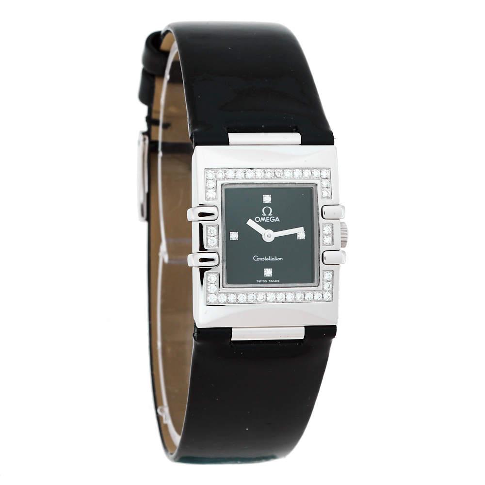 Omega Black Stainless Steel Patent Leather Diamond Constellation Quadra 895.1230 Women's Wristwatch 19 mm