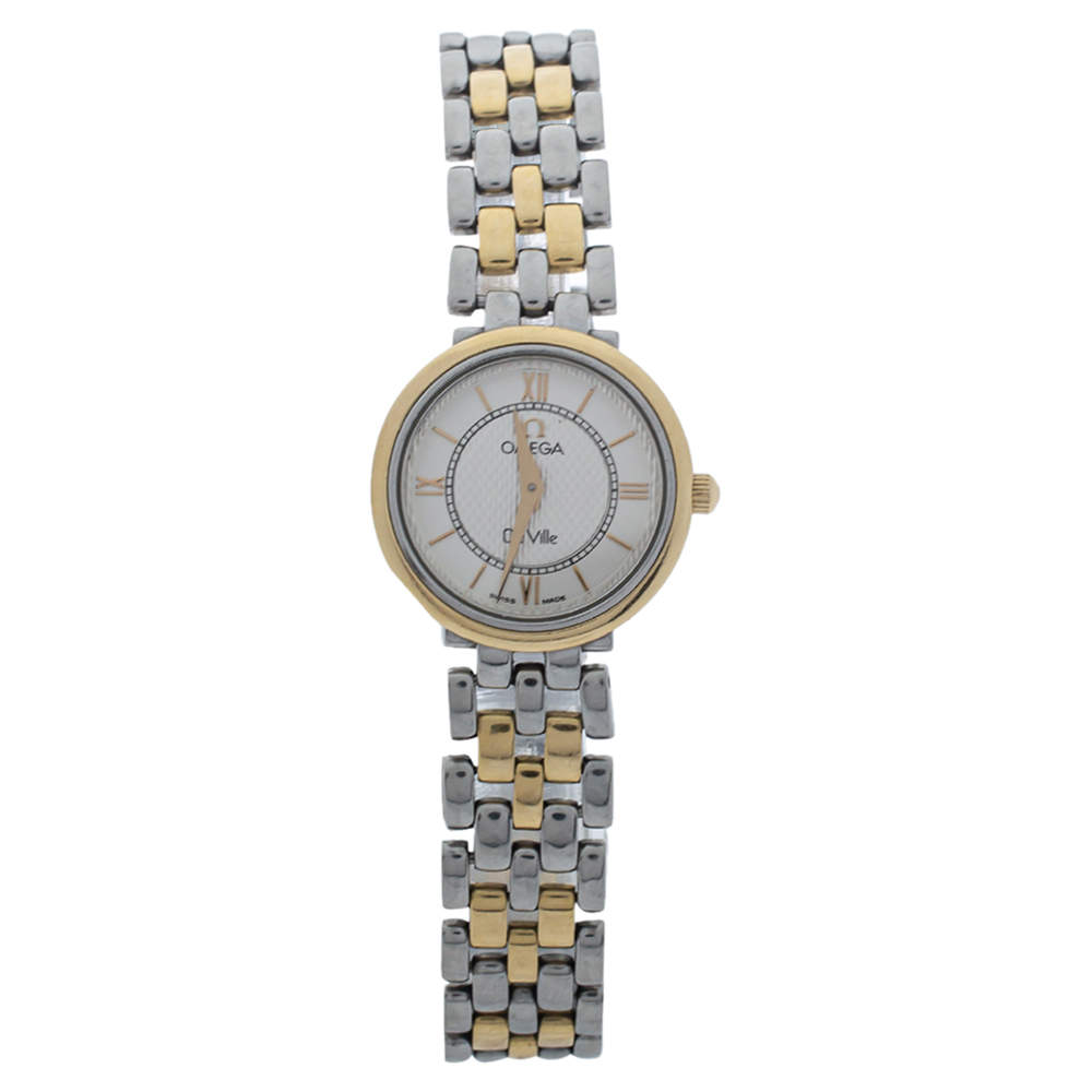 Omega White Two Tone Stainless Steel De Ville Prestige Women's Wristwatch 23MM