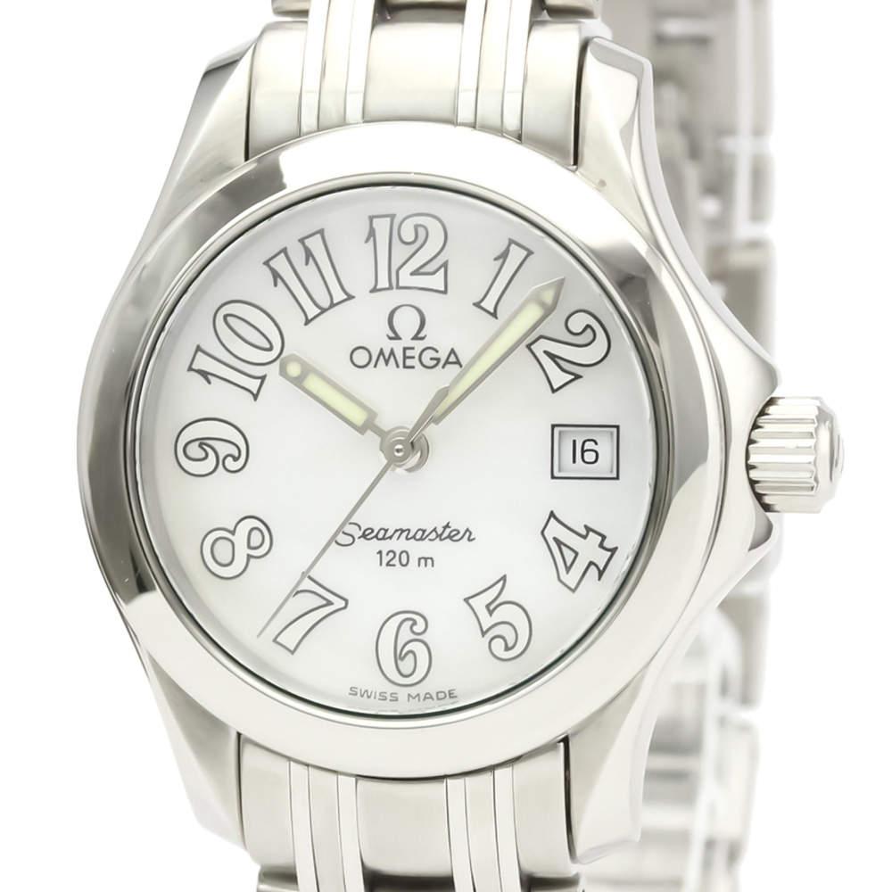 ساعة يد نسائية أوميغا سي ماستر 120M 2581.70 ستانلس ستيل بيضاء 26مم