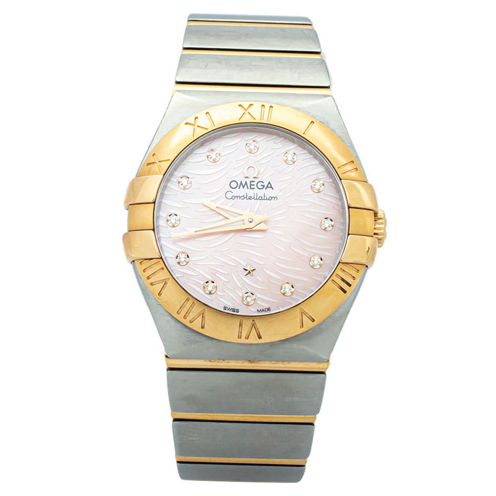 """ساعة يد نسائية أوميغا """"كونستلاشون"""" ستانلس ستيل و ذهب أصفر عيار 18 و صدف مرجانية 27 مم"""