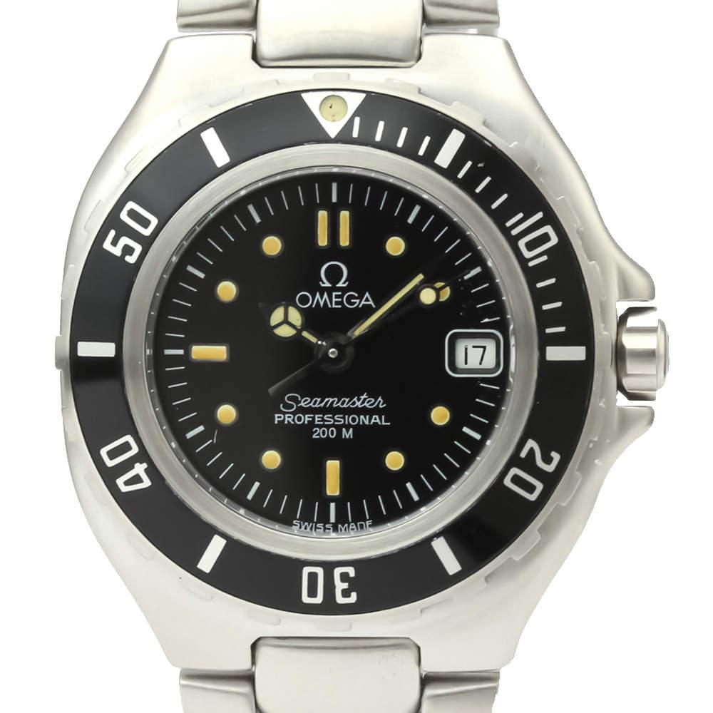 Omega Black Stainless Steel Seamaster 2880.50 Quartz Women's Wristwatch 30 MM