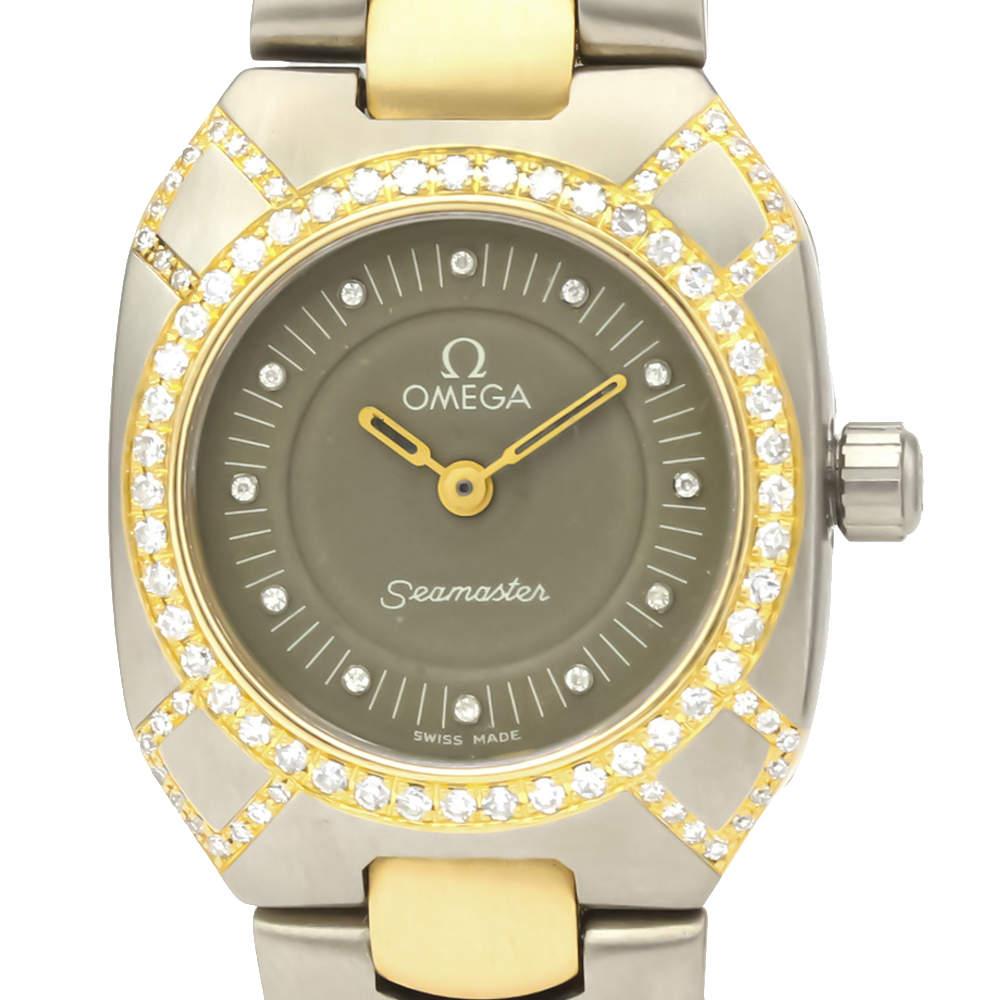 Omega Grey Diamonds 18K Yellow Gold And Titanium Seamaster 895.0845 Quartz Women's Wristwatch 22 MM