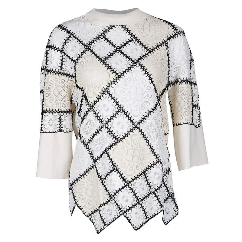 Oscar de la Renta Cream Lace and Crochet Patchwork Sweater M