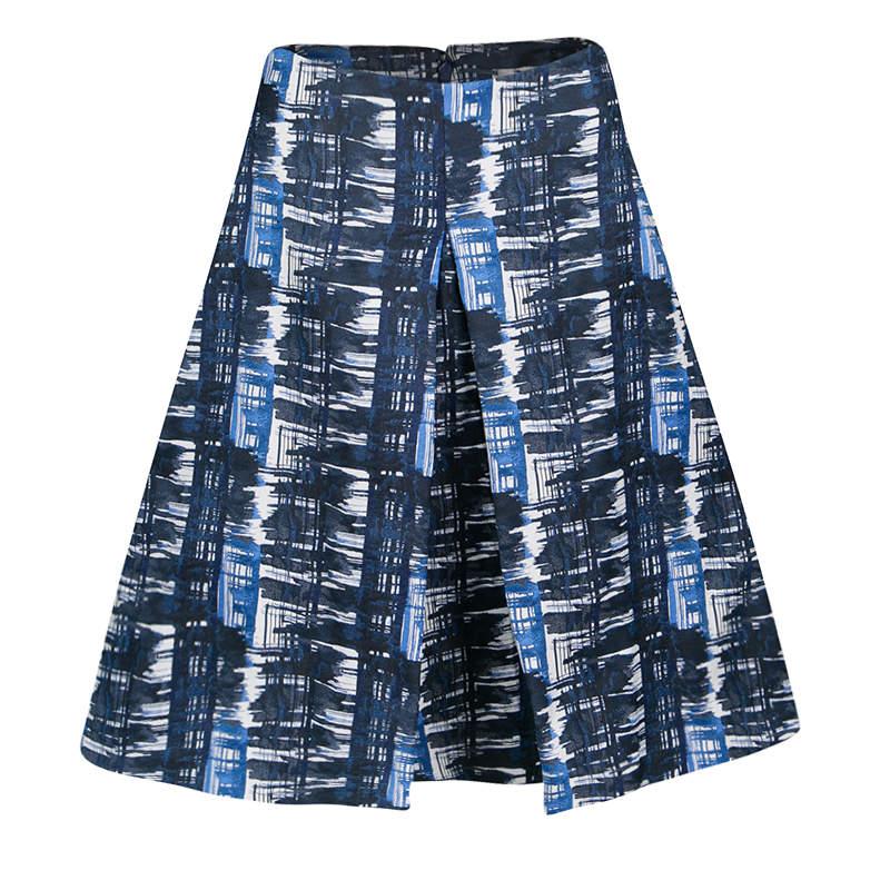 Oscar de la Renta Blue and White Printed A-Line Inverted Pleat Skirt S