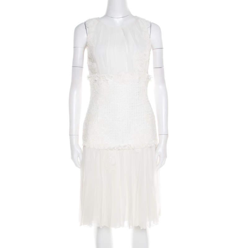 Oscar de la Renta White Chiffon and Tweed Lace Applique Sleeveless Dress S