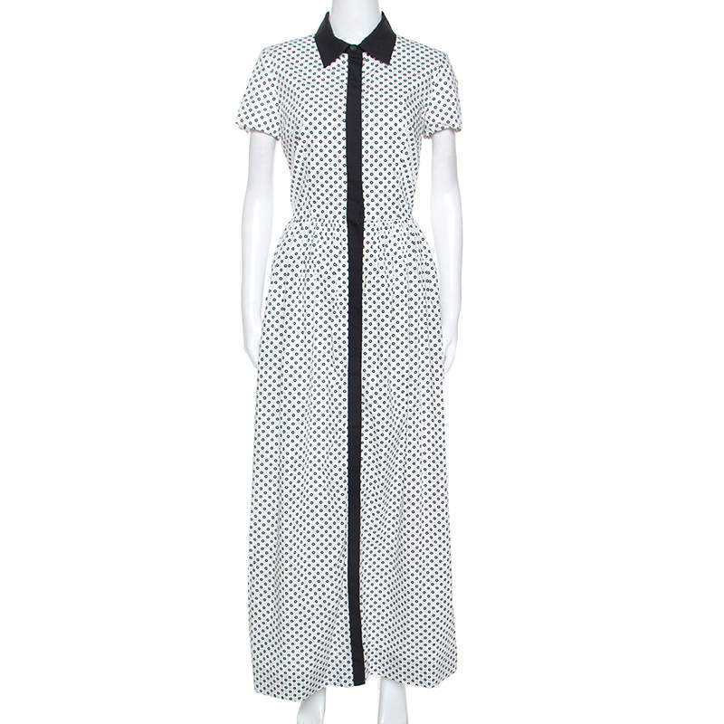 Oscar de la Renta White Flower Print Cotton Contrast Trim Shirt Dress S