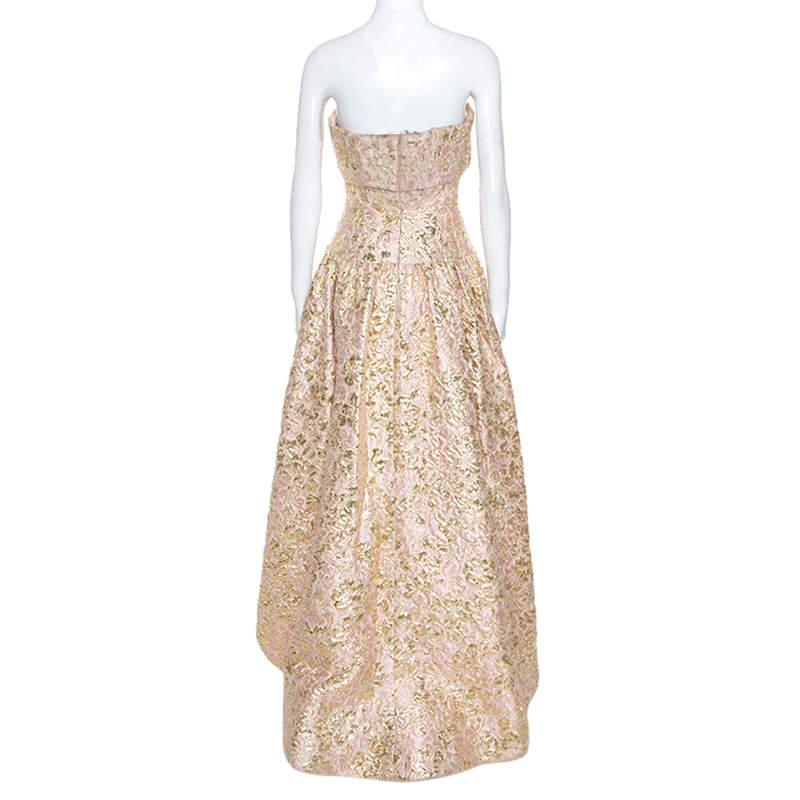 Oscar De La Renta Pink and Gold Brocade Strapless Asymmetrical Dress S  Oscar de la Renta | TLC