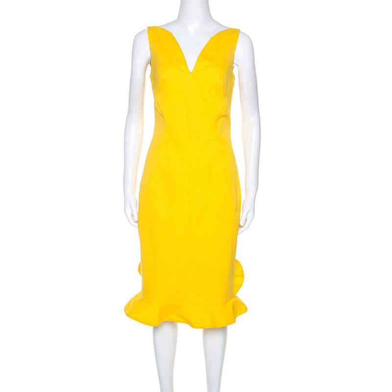 Oscar De La Renta Yellow Stretch Cotton Ruffled Hem Midi Dress S