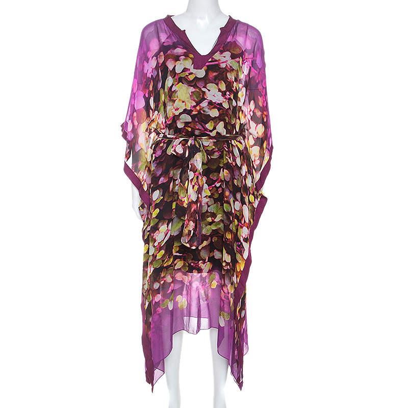 Oscar de la Renta Multicolor Printed Silk Crepe Kaftan M