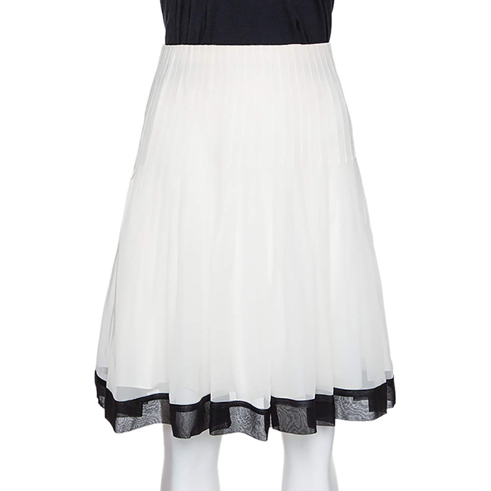 Oscar de la Renta Bicolor Chiffon Pleated A Line Skirt M