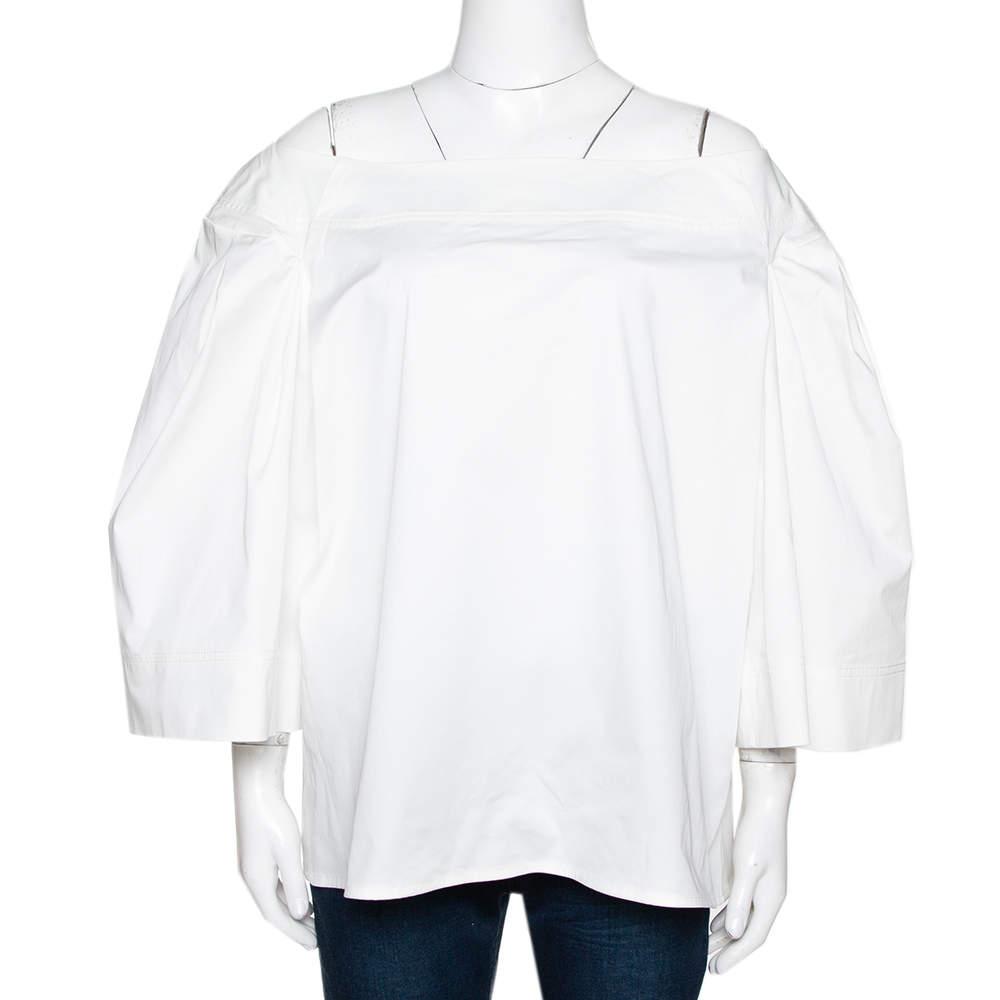 Oscar de la Renta White Stretch Cotton Puff Sleeve Blouse XXL