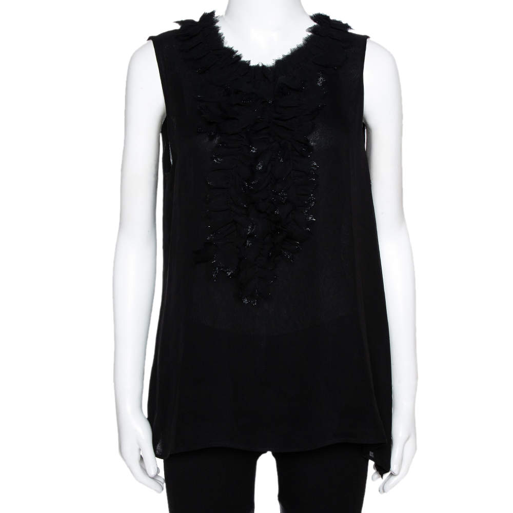 Oscar de la Renta Black Silk Sleeveless Ruffled Blouse L