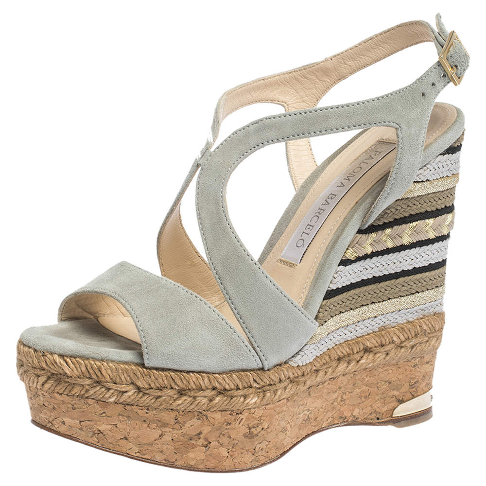 Paloma Barceló Light Grey Suede Mafafa Wedge Platform Sandals Size 36.5